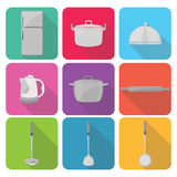 Home appliances icons in flat design set 4 Royalty Free Stock Photo