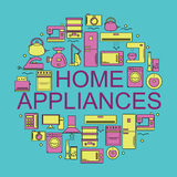 Home appliances.  Icons of home appliances placed in a circle. Royalty Free Stock Image