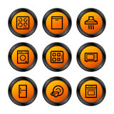 Home appliances icons, orange Stock Photography