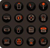Home appliances icons set. Home appliances color vector icons on dark background for user interface design stock illustration