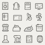 Home appliances icons: washing machine, teapot, Oven, TV, refrig Stock Photography