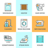 Home appliances line icons set Royalty Free Stock Photos