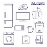 Home appliances. Line icons. Royalty Free Stock Image