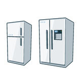 Home Appliances 1 - Refrigerators. Two cartoon vector icons of refrigerator and side-by side refrigerator Stock Photo