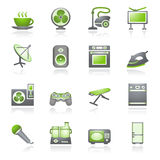 Home appliances, set 2. Gray and green series. Royalty Free Stock Images