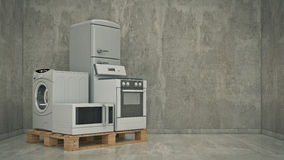 Home appliances. Set of household kitchen technics. Fridge, gas cooker, microwave oven and washing machine - Render 3D Stock Photo