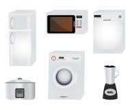 Home appliances. Set illustration, fridge oven rice cooker mixer washing machine isolated on white Stock Photos