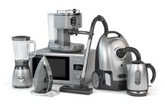 Free Home Appliances. Set Of Household Kitchen Technics Isolated On W Royalty Free Stock Photography - 113939407