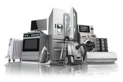 Free Home Appliances. Set Of Household Kitchen Technics Isolated On W Stock Images - 114421144