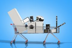 Home appliances in the shopping cart E-commerce or online shopping concept 3d render on blue royalty free illustration