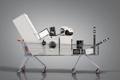 Home appliances in the shopping cart E-commerce or online shopping concept 3d render on grey royalty free illustration