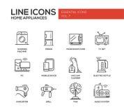 Home Appliances - simple line design icons set Stock Photo