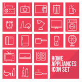 Home appliances simple thin line icons set vector vector illustration