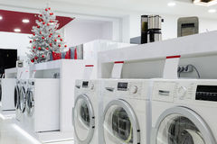 Home appliances in the store at Christmas Royalty Free Stock Photos