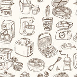 Home appliances themed doodle Seamless Pattern. Stock Photos