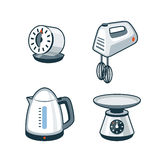 Home Appliances 4 - Timer, Hand Mixer, Electric Kettle, Kitchen. Set of four cartoon vector icons of a kitchen timer, hand mixer, electric kettle and kitchen Royalty Free Stock Image