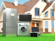 Home appliances. Tv, refrigerator, microwave, laptop and  washin Royalty Free Stock Images