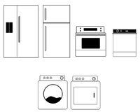 Home Appliances vector. Outline vector drawing of home appliances and washer dryer royalty free illustration