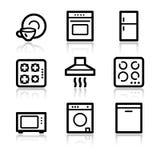 Home appliances web icons. Vector web icons, black contour series Stock Photography