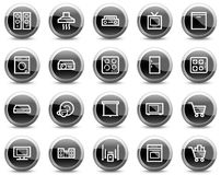 Home appliances web icons, black circle buttons stock illustration