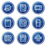 Home appliances web icons, blue circle buttons Royalty Free Stock Photos
