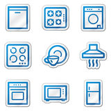 Home appliances web icons, blue contour sticker Royalty Free Stock Photography