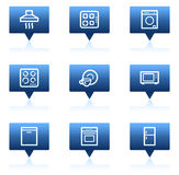 Home appliances web icons, blue speech bubbles Stock Photo