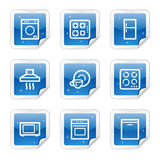 Home appliances web icons, blue sticker series. Vector web icons, blue glossy sticker series royalty free illustration