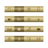 Home appliances web icons on bronze bar Stock Photos