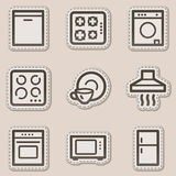 Home appliances web icons, brown contour sticker Royalty Free Stock Photos