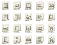 Home appliances web icons, document series Stock Image