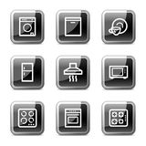 Home appliances web icons, glossy buttons series. Vector web icons, black square glossy buttons series Royalty Free Stock Images