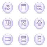 Home appliances web icons, glossy pearl series Royalty Free Stock Photo