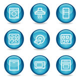 Home appliances web icons, glossy sphere series Stock Photos