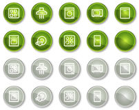 Home appliances web icons, green circle buttons Royalty Free Stock Images
