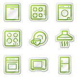 Home appliances web icons, green contour sticker Stock Images