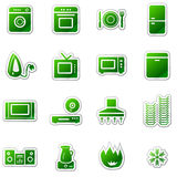 Home appliances web icons, green sticker series Stock Photography