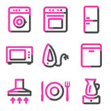 Home appliances web icons, pink contour series Royalty Free Stock Photography