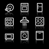 Home appliances white contour web icons Stock Images