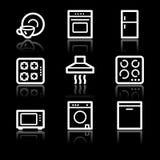 Home appliances white contour web icons. Vector web icons, white contour series Stock Images
