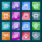 Home appliances white icons on color buttons. Royalty Free Stock Images