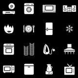 Home appliances white web icons Stock Image
