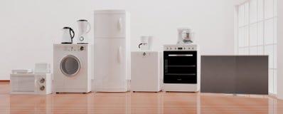 Home appliances on wooden floor. 3d illustration Stock Images