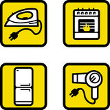 Home appliances. Yellow icons,vector Stock Images