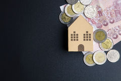 Home architectural model paper box cubes, Banknotes Thailand and Stock Photography