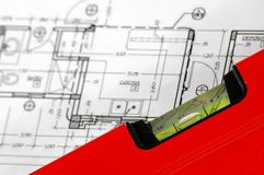 Home architectural plans. Water level and architectural plan , home building concept Stock Images