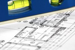 Home architectural plans. Water level and architectural plan , home building concept Stock Photography