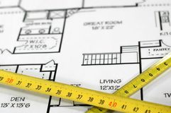 Home architectural plans. House plans and folding rule , concept of home architecture Stock Photo