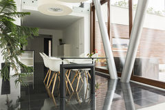 Home area with communal table. Modern home area with communal table and chairs Royalty Free Stock Photos