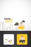 Home art logo. Illustrated logo for home art, exterior design concept Stock Photography